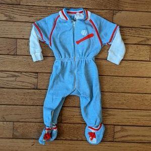 Vintage Tiny Tots Baseball Sleeper Pajamas